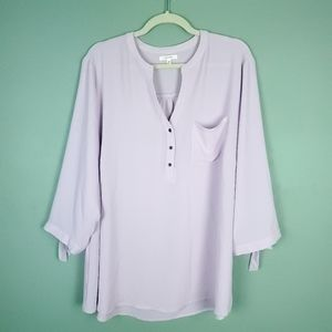 Maurices Plus Size Tie Sleeve Lilac Blouse Size 2